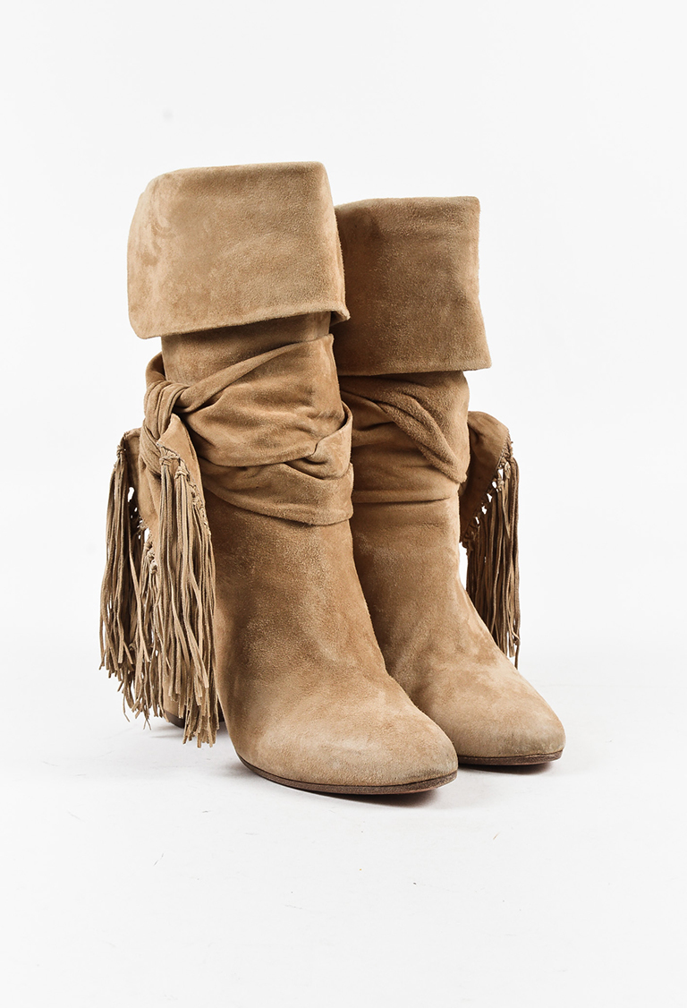 "Brown Suede ""Fringe Tie"" High Heel Mid Calf Boots"