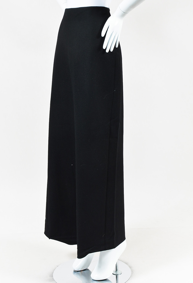 Black Wool Blend Straight Cut Maxi Skirt