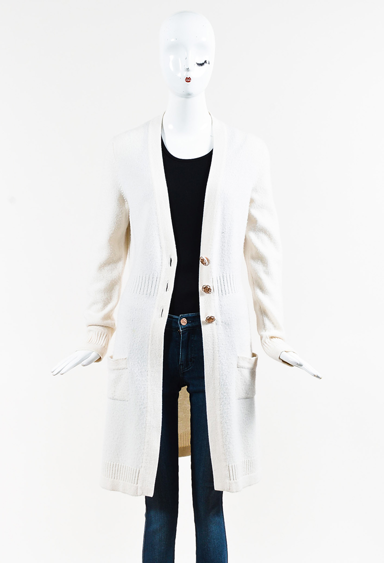Fall 2007 White Cashmere Long Buttoned V Neck Cardigan