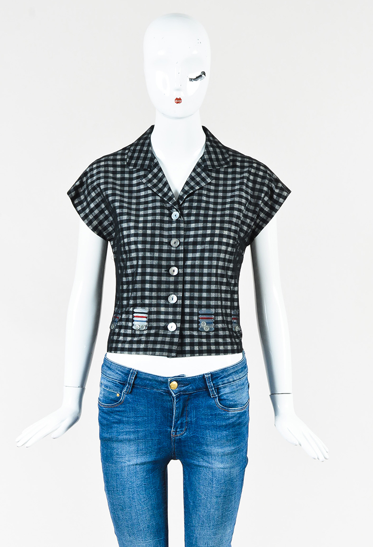Cheap And Chic Black & White Cotton Silk Gingham Short Sleeve Top