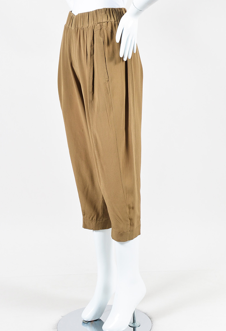 "Brown Silk ""Paper Bag"" Culotte Pants"