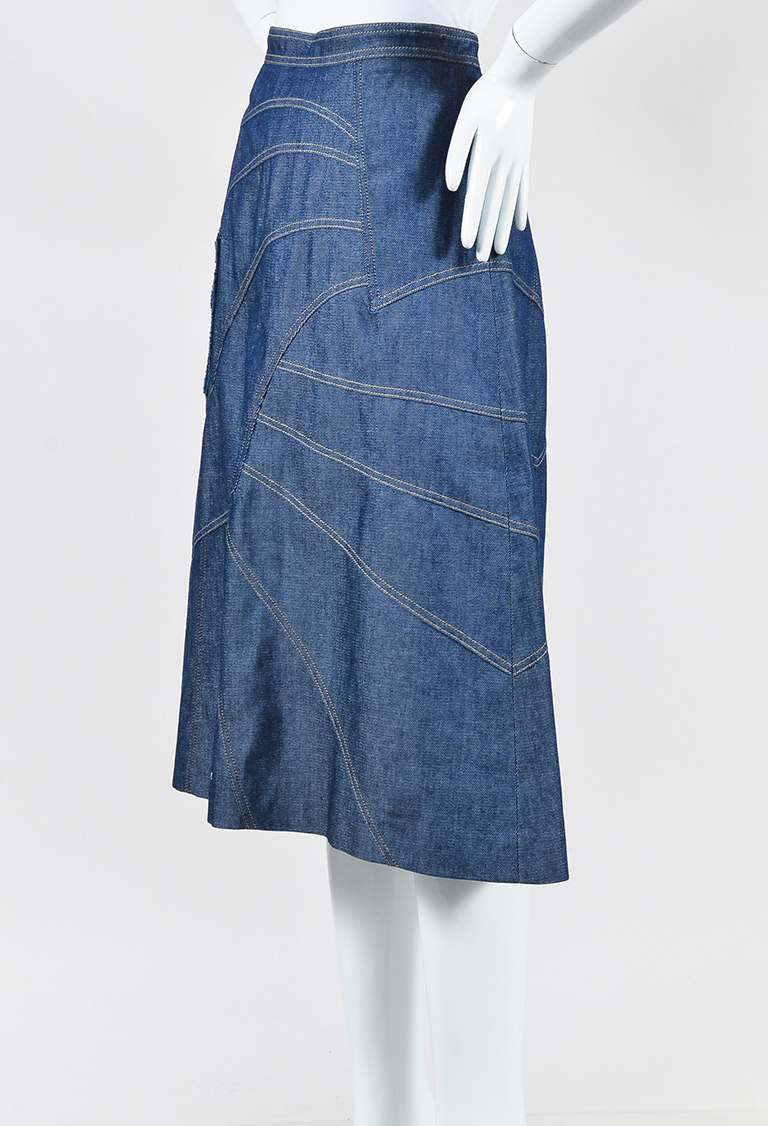 Blue Denim Asymmetric A Line Skirt
