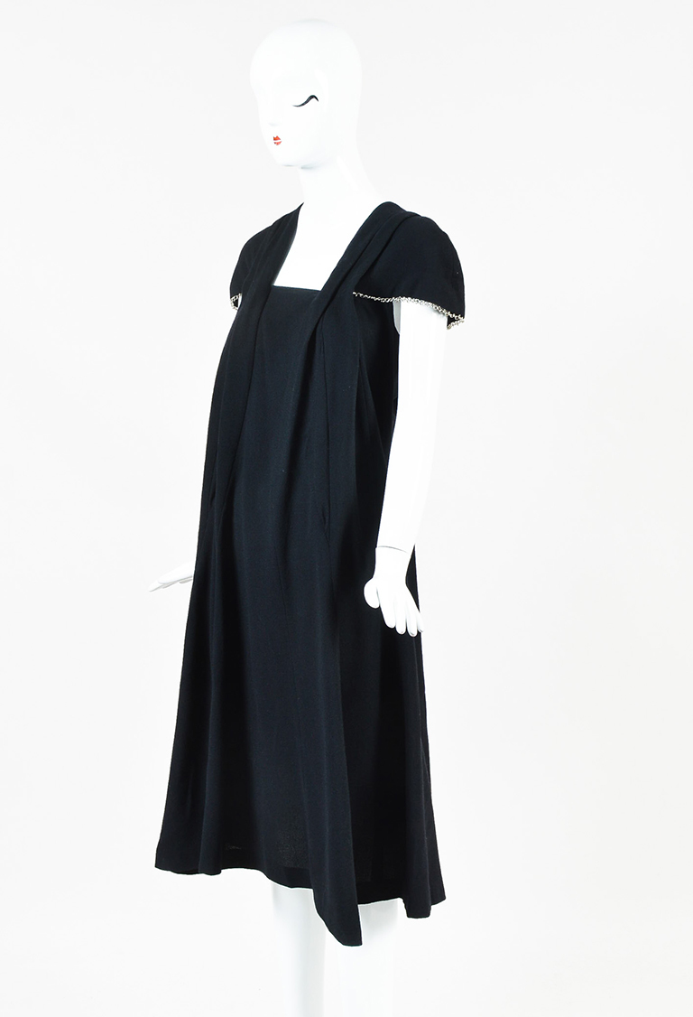 Yves  Black Wool Enchained Cap Sleeve Flared Dress