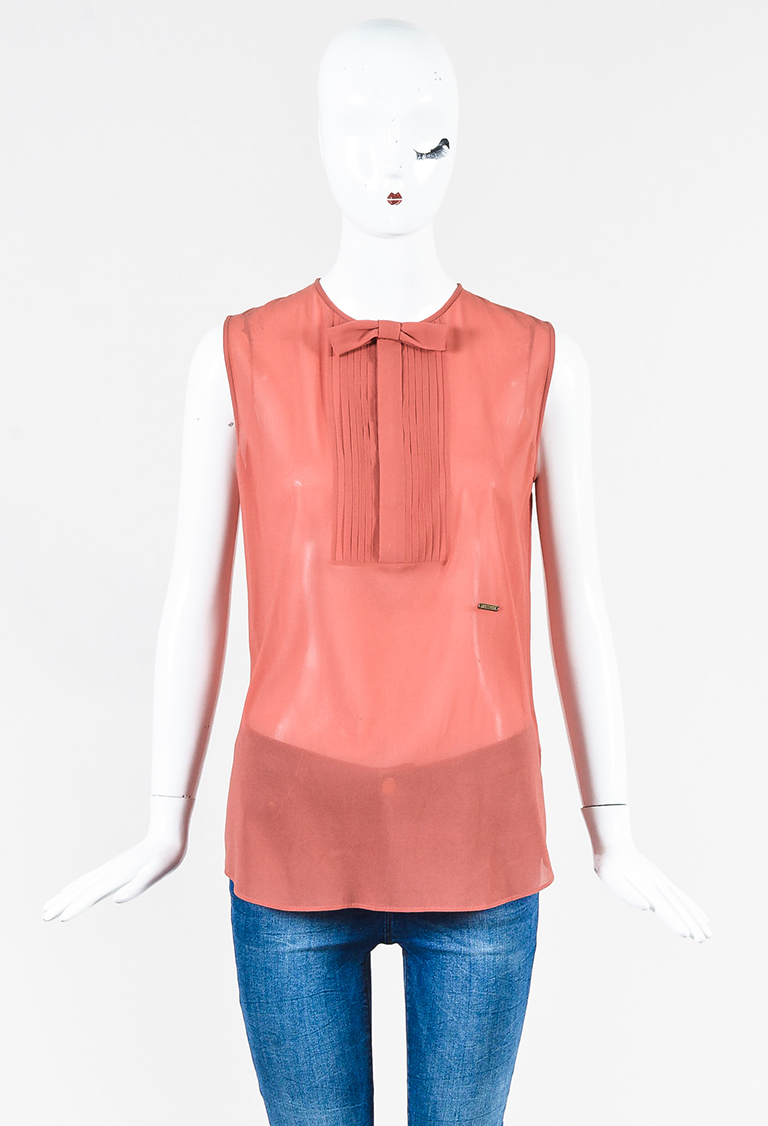 Pink Silk Blend Pintuck Bow Sleeveless Top