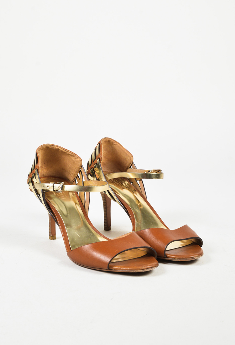Brown Gold Leather Open Toe Ankle Strap High Heel Sandals