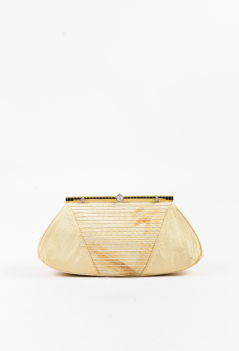 Cream Snakeskin Gold Tone Frame Clutch Bag