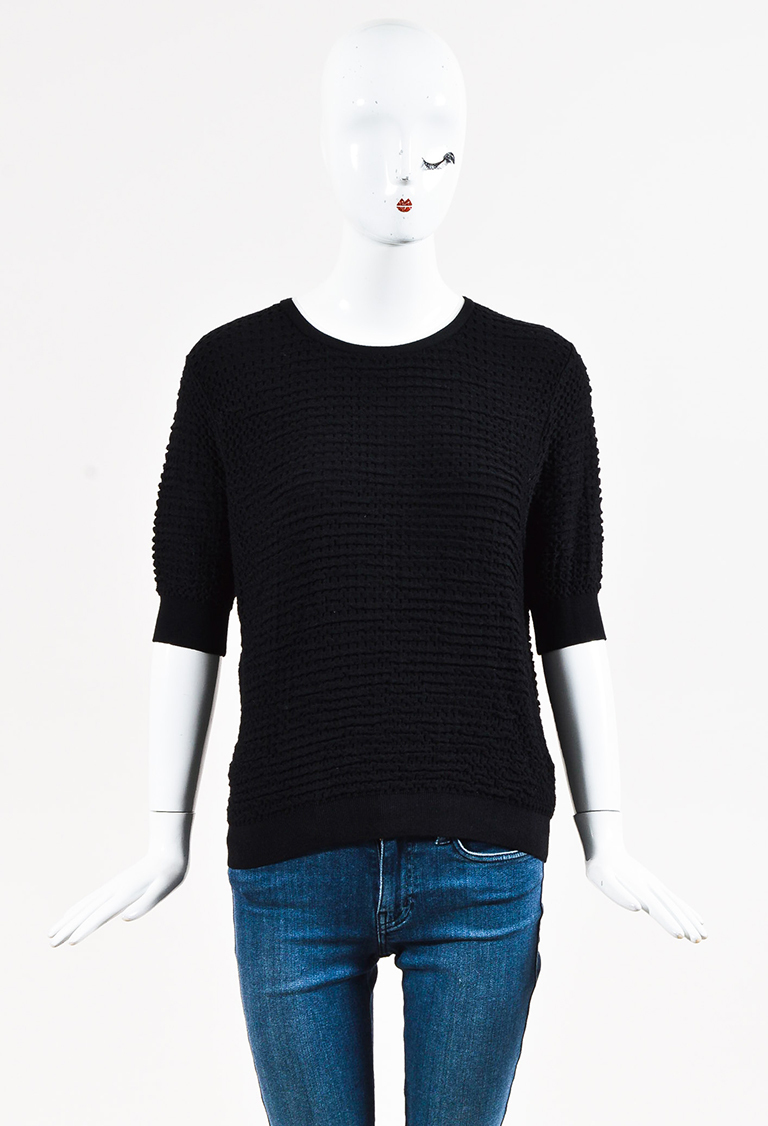 Black Textured Knit Short Sleeve Pullover Top
