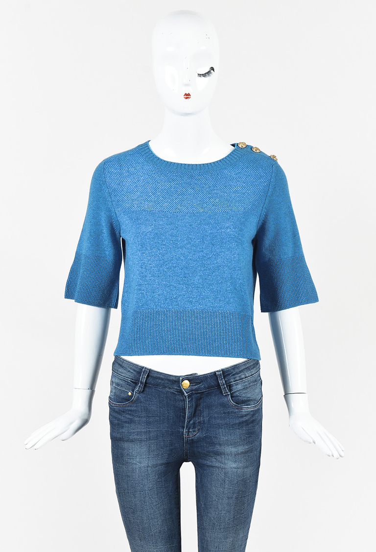 Blue Textured Cashmere Gold Button Cropped Sweater