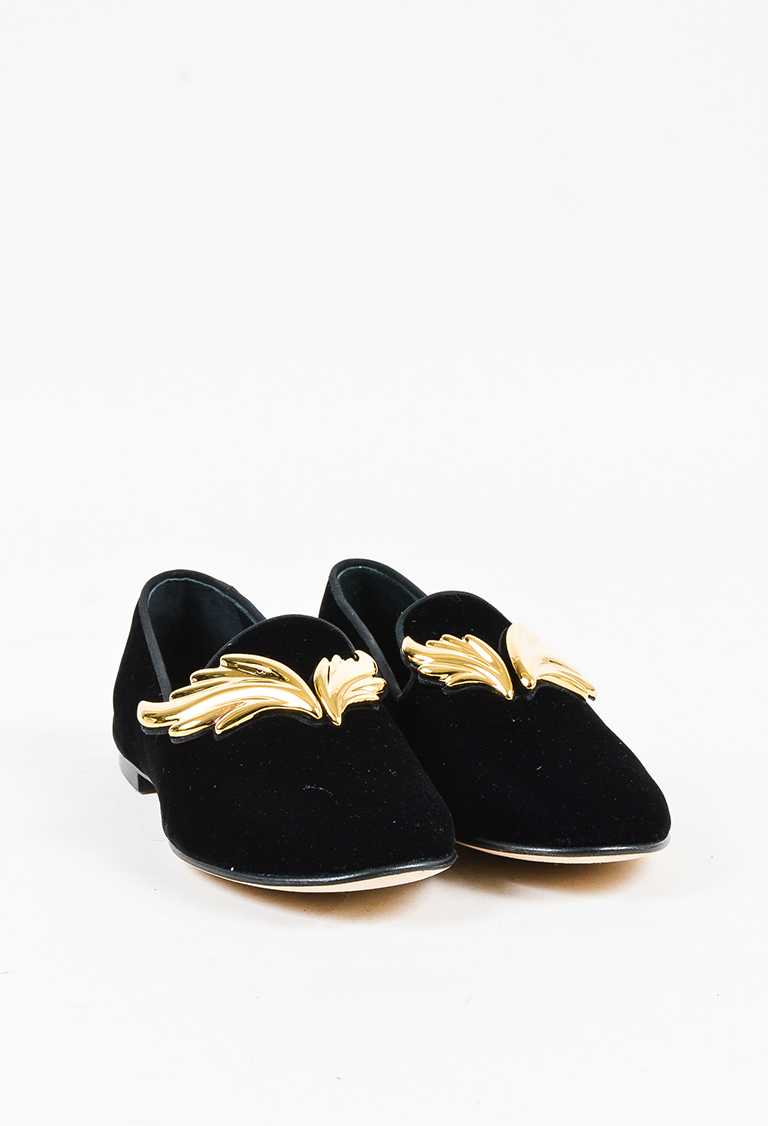 "Black Velvet Gold Tone ""Dalila"" Loafer Flats"