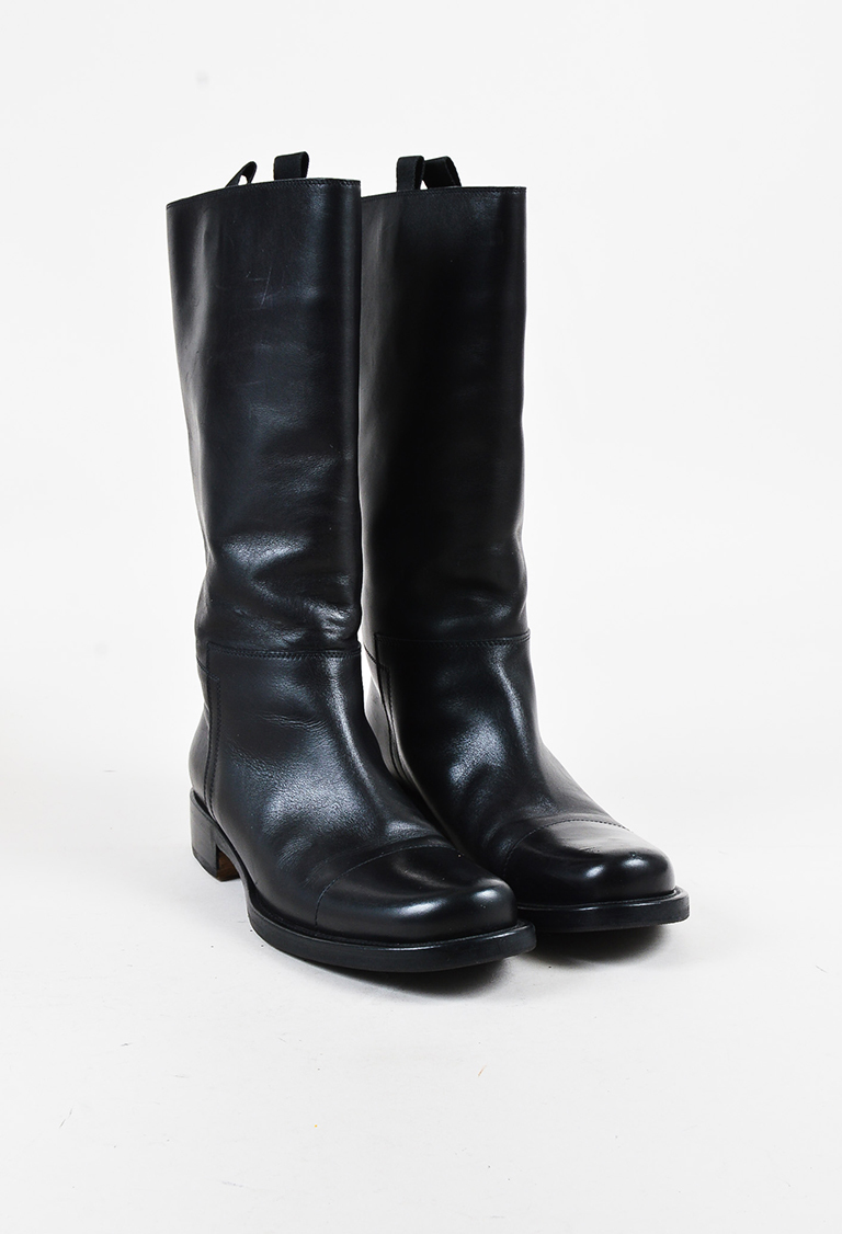 Black Leather Calf High Boots