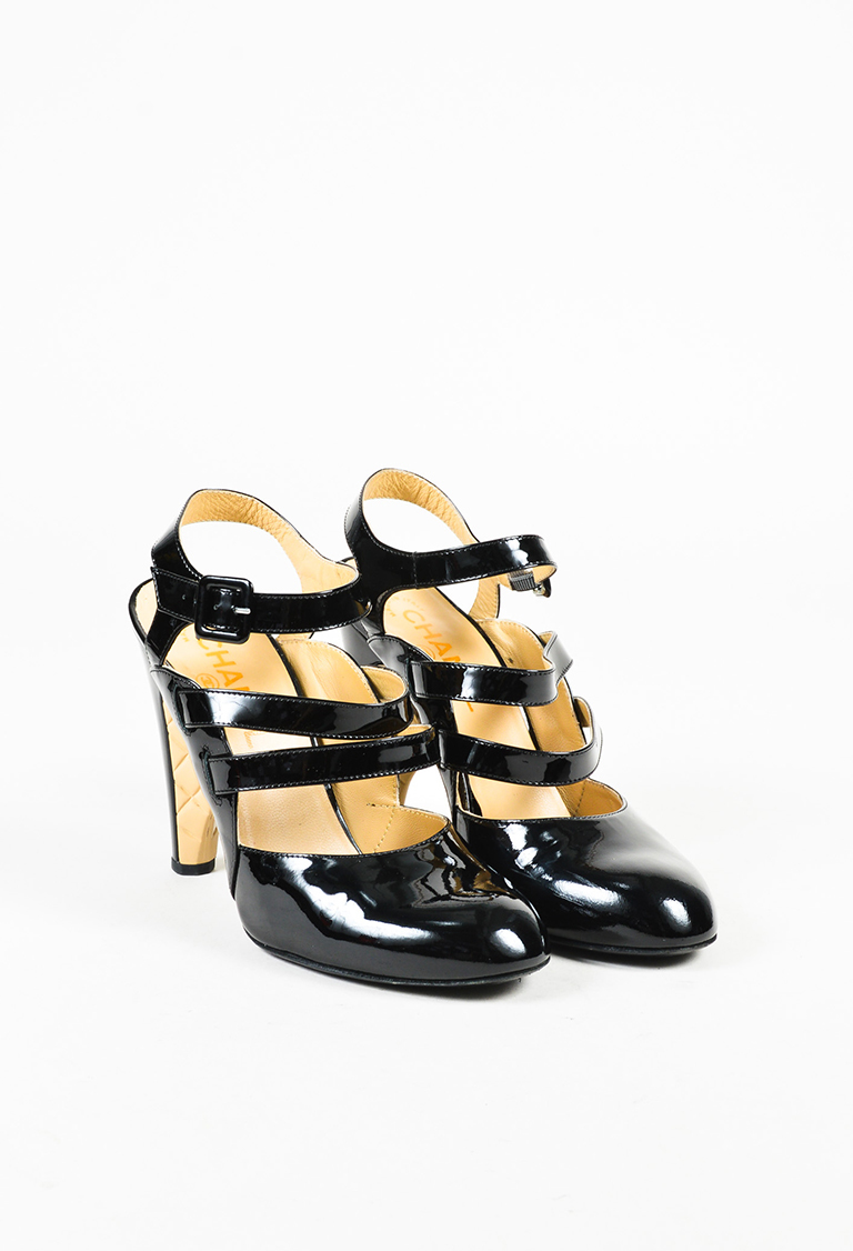 Black & Beige Patent Leather Tri Strap Quilted Heel Pumps w/Spats