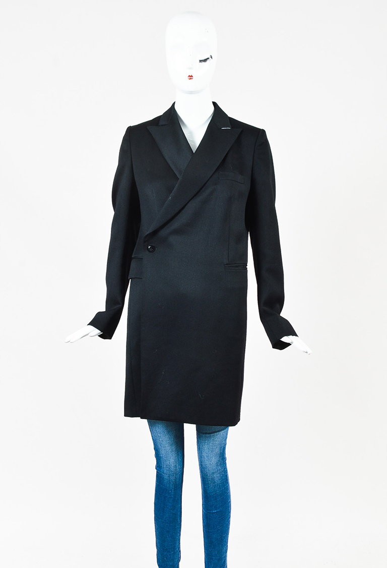 Black Wool Blend Double Breasted Jacket