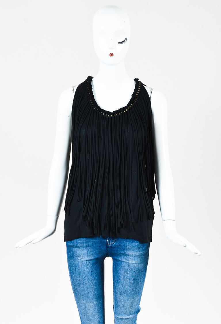 Black Knit Tiered Fringe Racer Back Tank Top