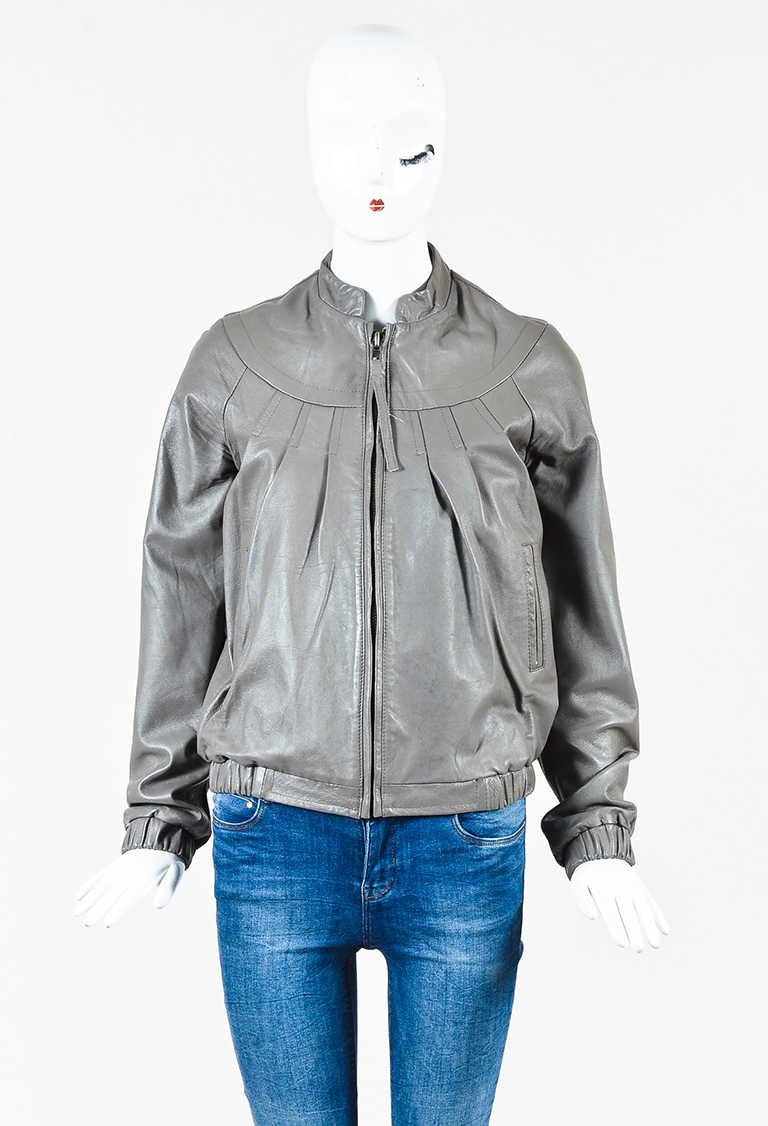 Gray Leather Pleated Jacket