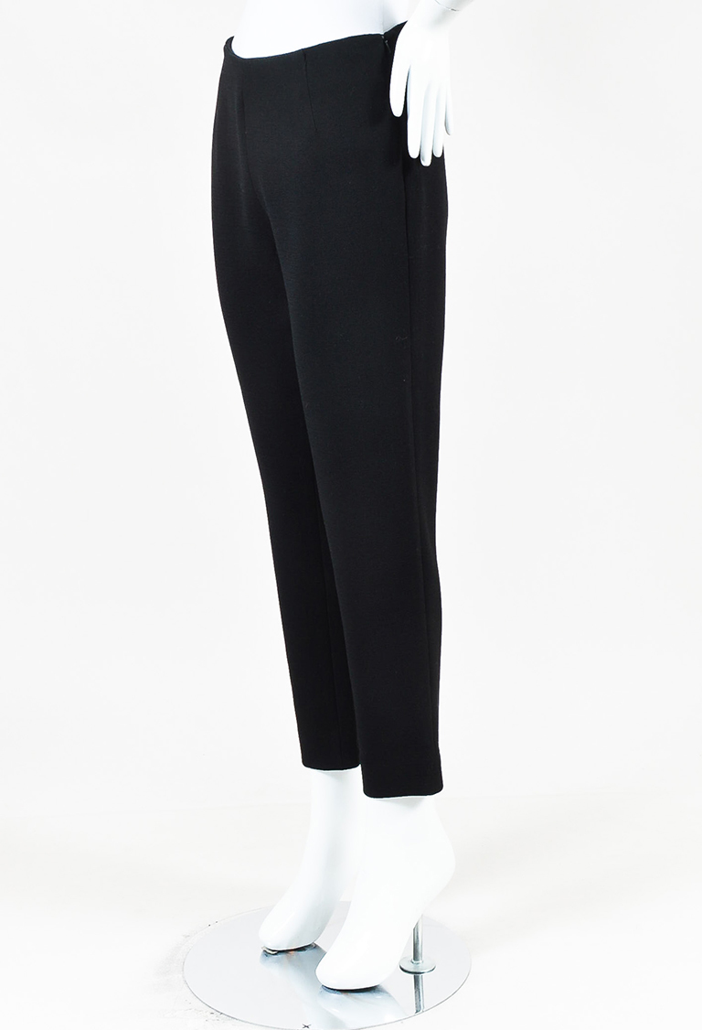 "Black Wool Blend ""Catherine"" Straight Leg Pants"