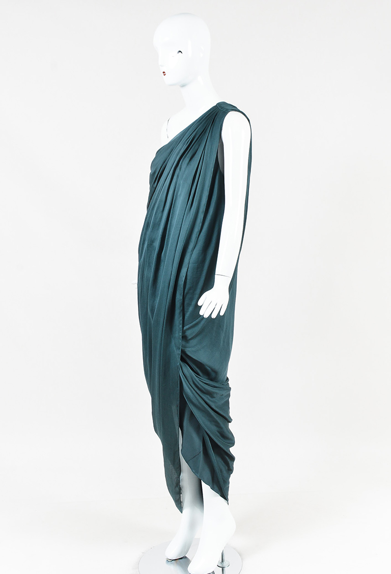 """Smokey Teal"" Blue Silk Voile Draped One Shoulder Dress"
