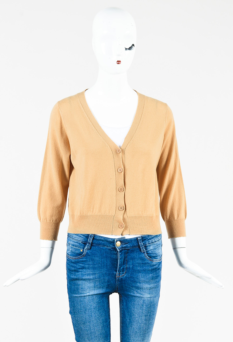 Brown Cashmere Button Up Cropped Cardigan