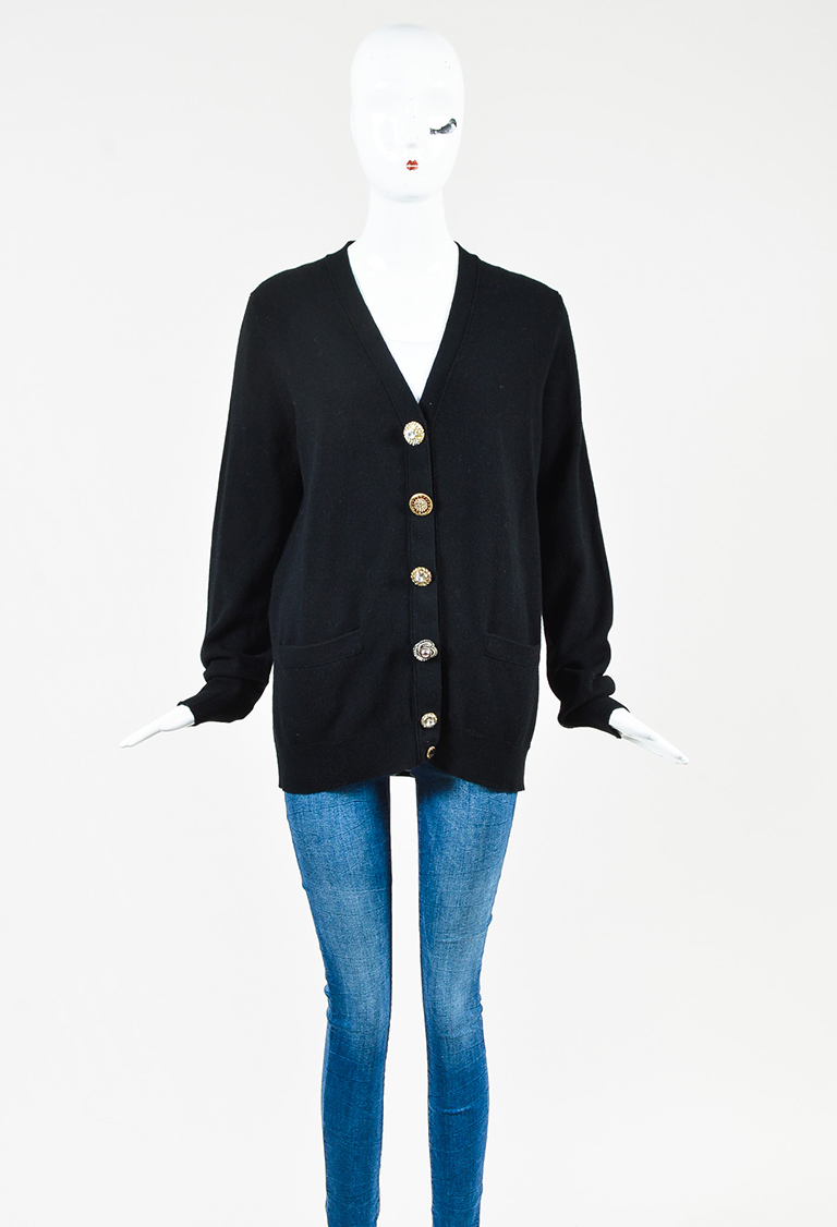 Black Knit Jewel Button Cardigan Sweater