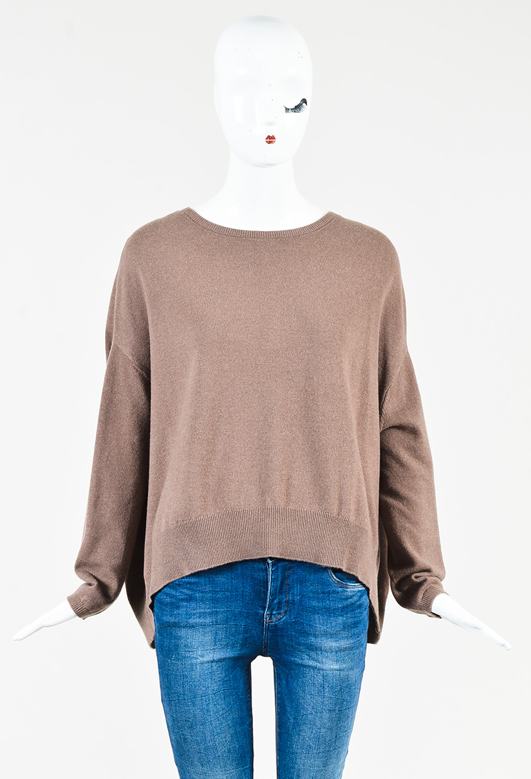 Taupe Cashmere Pullover Back Button Sweater