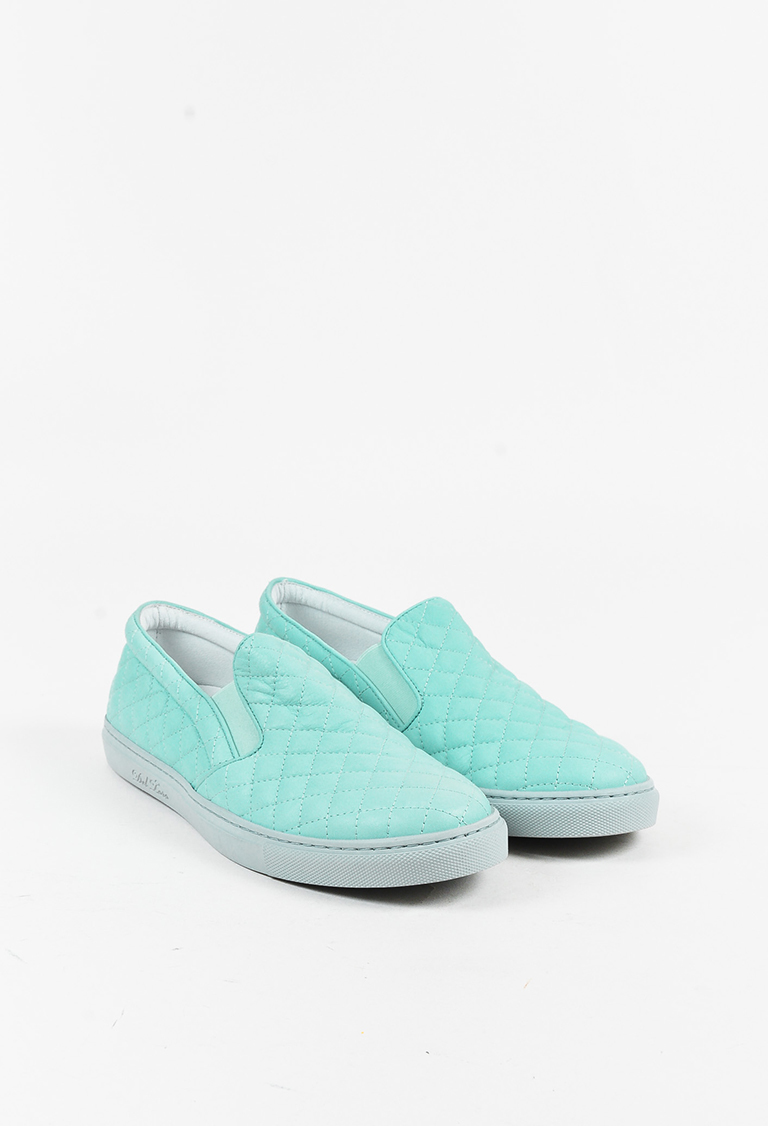 Blue Quilted Leather Slip On Platform Sneakers