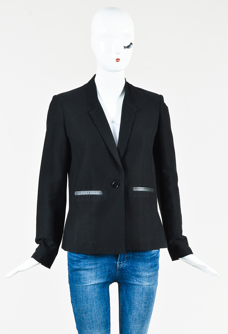 Black Cotton Blend & Sheepskin Single Button Blazer
