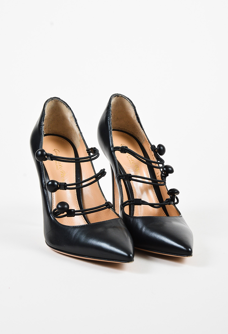 Black Leather Buttoned Loop Pointed Toe Pumps