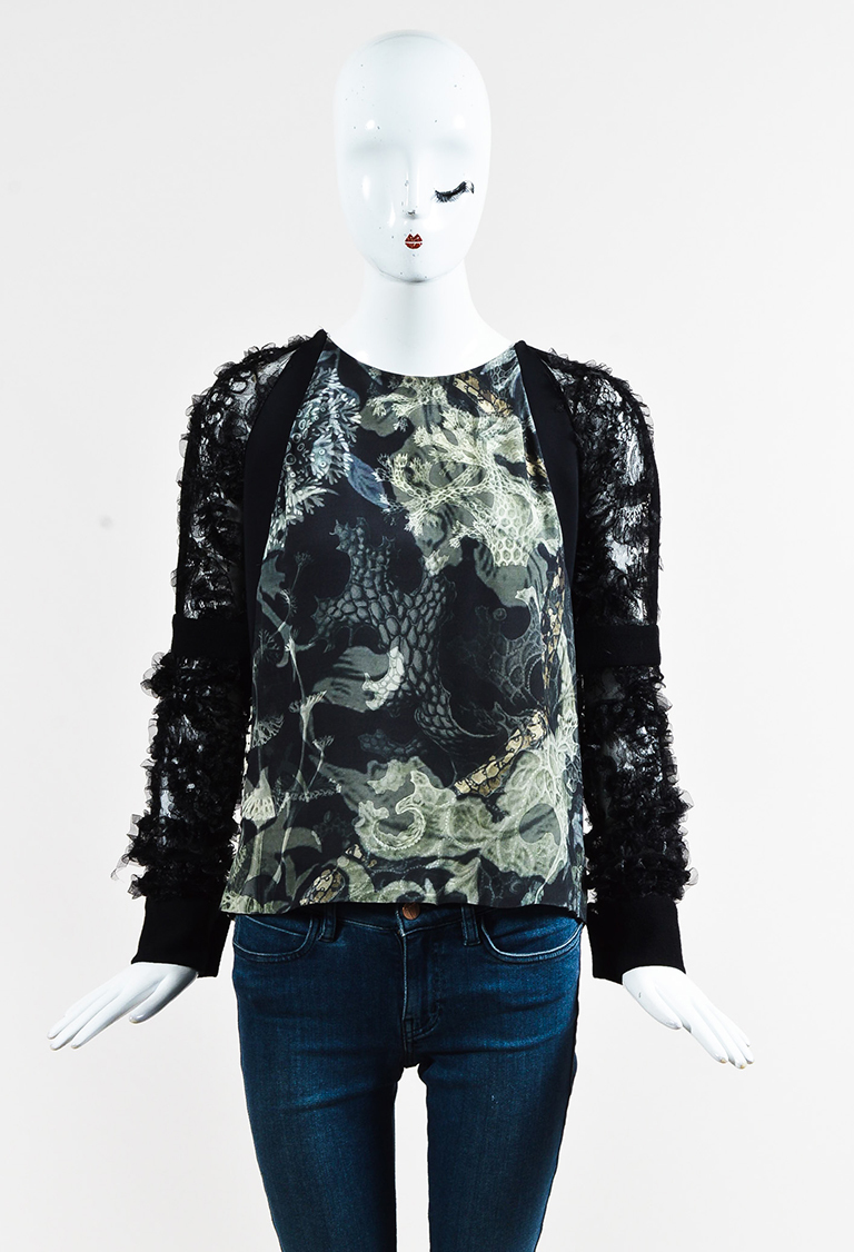 Black White Printed Ruffled Tulle Sleeve Blouse