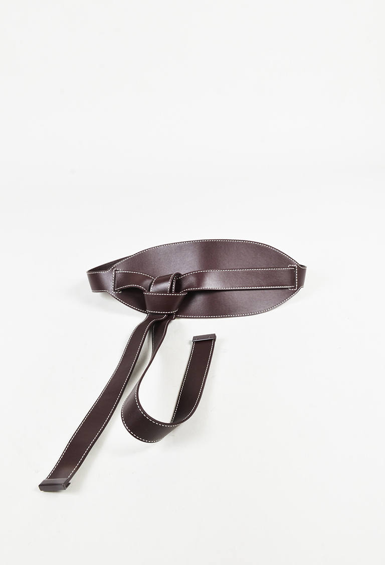"Brown Leather Topstitch ""Wrap"" Belt"