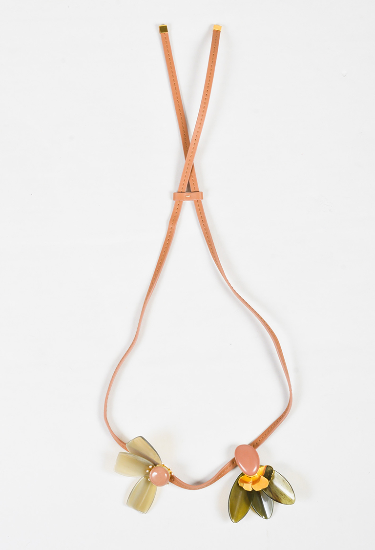 Green Beige Multicolor Horn & Leather Asymmetric Tie Necklace