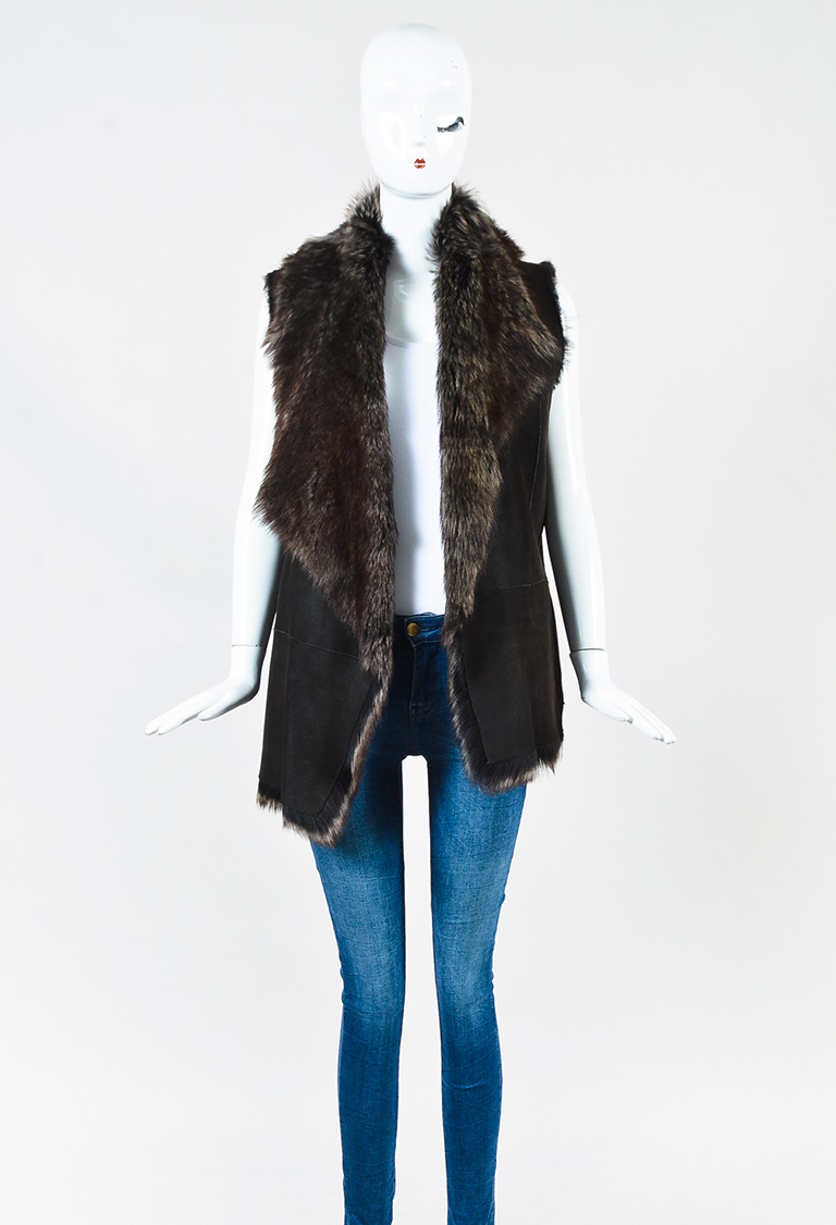 Brown Suede & Sheep Shearling Draped Vest