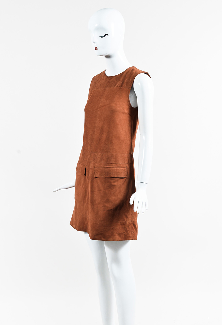 Brown Suede Sleeveless Shift Dress