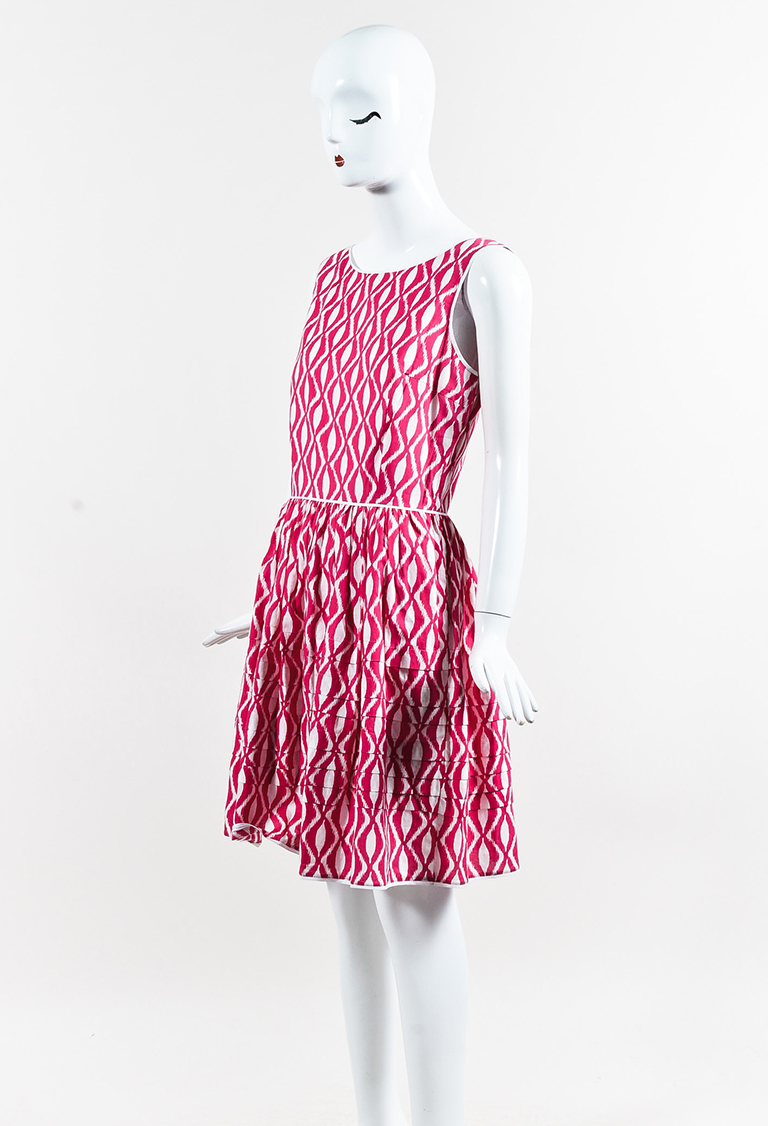 Pink White Cotton Blend Printed Sleeveless Fit & Flare Dress