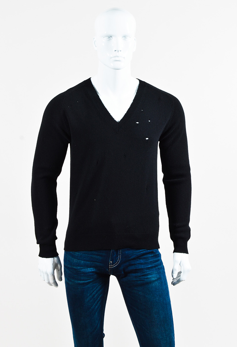 MENS  Black Wool Distressed Knit V Neck Sweater