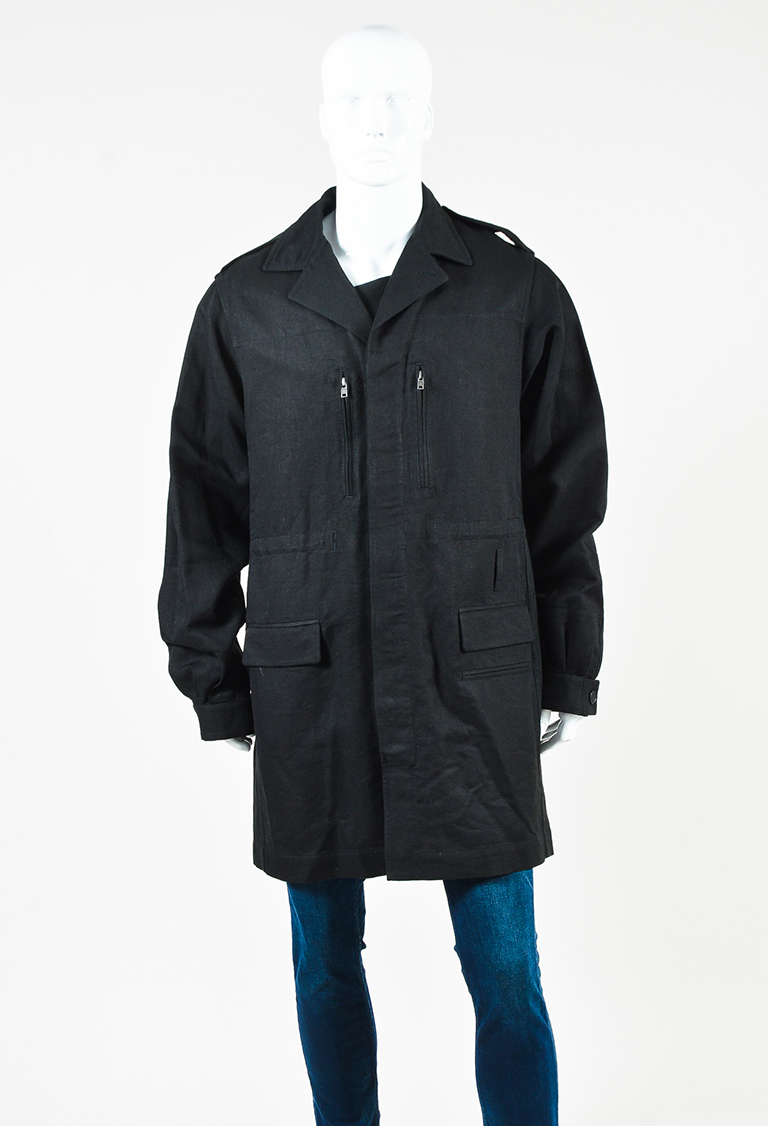 "MENS  Black Cotton Blend Multi Pocket ""Hartman"" Coat"