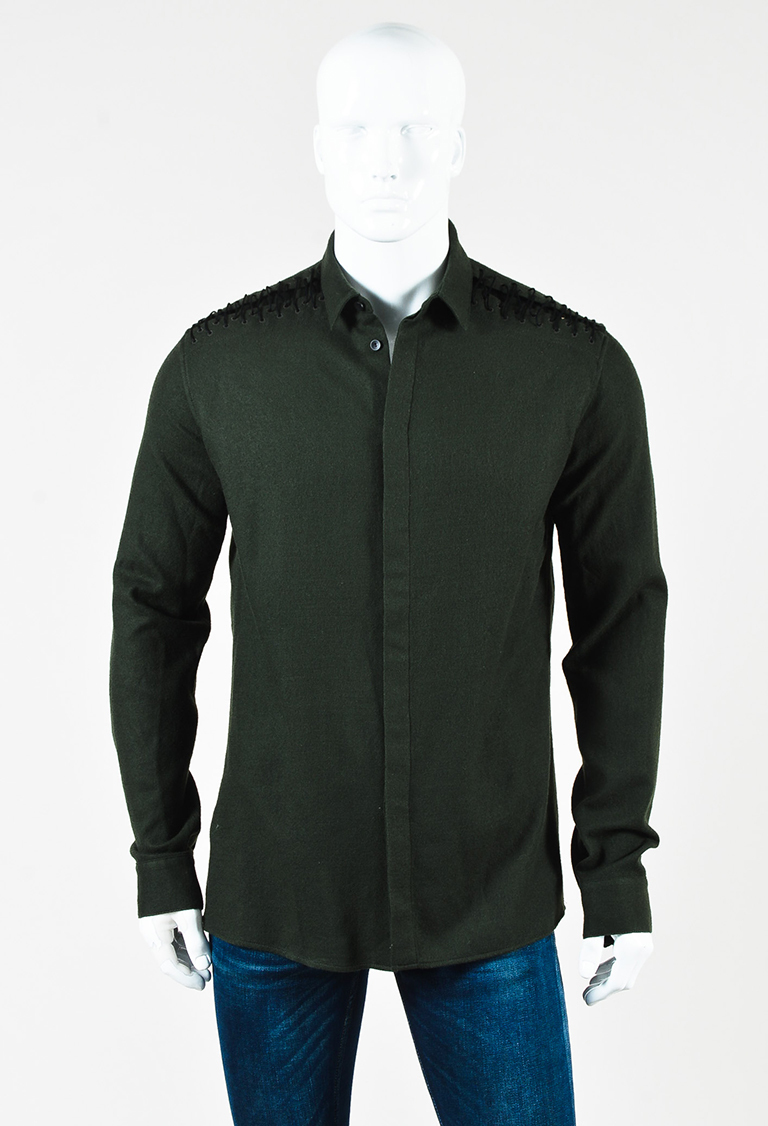 "MENS  Green Wool Long Sleeve Lace Up ""Proud"" Shirt"