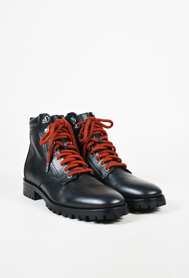 Men's Black Leather Lace Up Work Boots