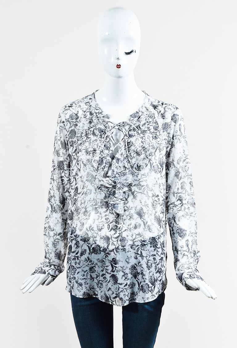 White & Black Chiffon Long Sleeve Lace Up Floral Print Blouse