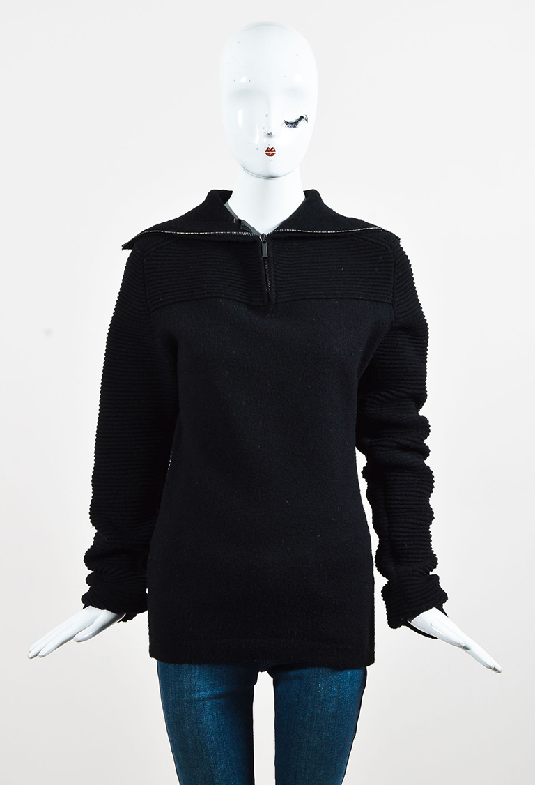Black Wool Rib Accented Shawl Collar Long Sleeve Sweater