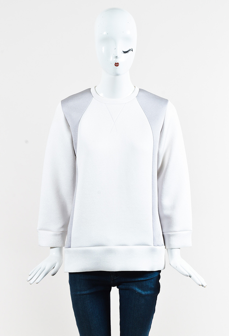 Gray & White Knit Long Sleeve Colorblock Top