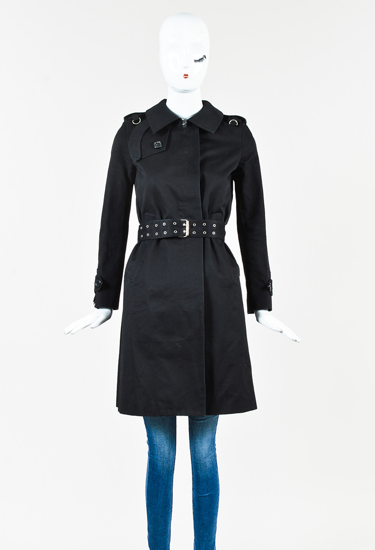 Black Wool Silver Grommet Belted Trench Coat