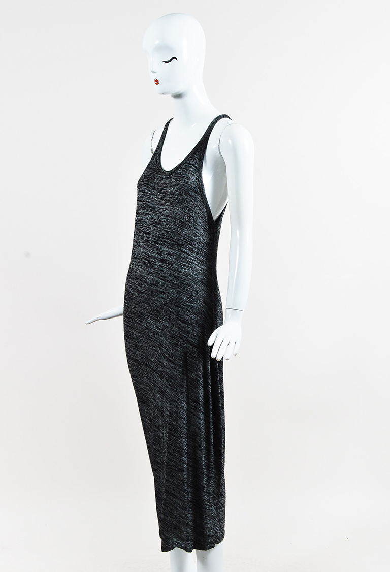 T by  Gray & Black Knit Scoop Neck Maxi Tank Dress