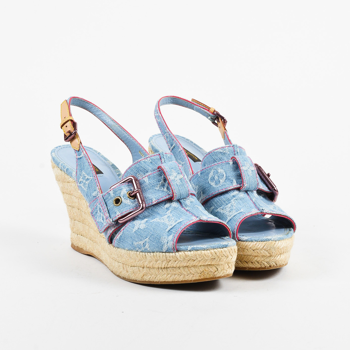 4de24b746cf4 Details about Louis Vuitton Blue Monogram Denim   Leather Slingback Wedge  Sandals SZ 41