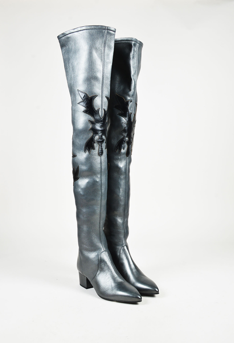 Black Leather Over the Knee Western Boots