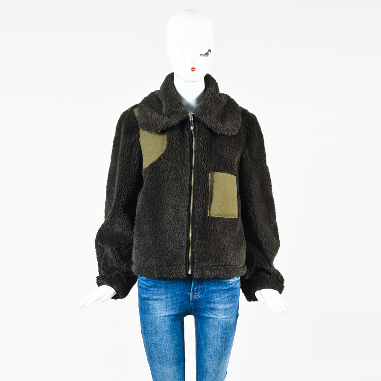 526977a6ca12 Details about Moncler Gamme Rouge Green Faux Shearling Canvas   Wool