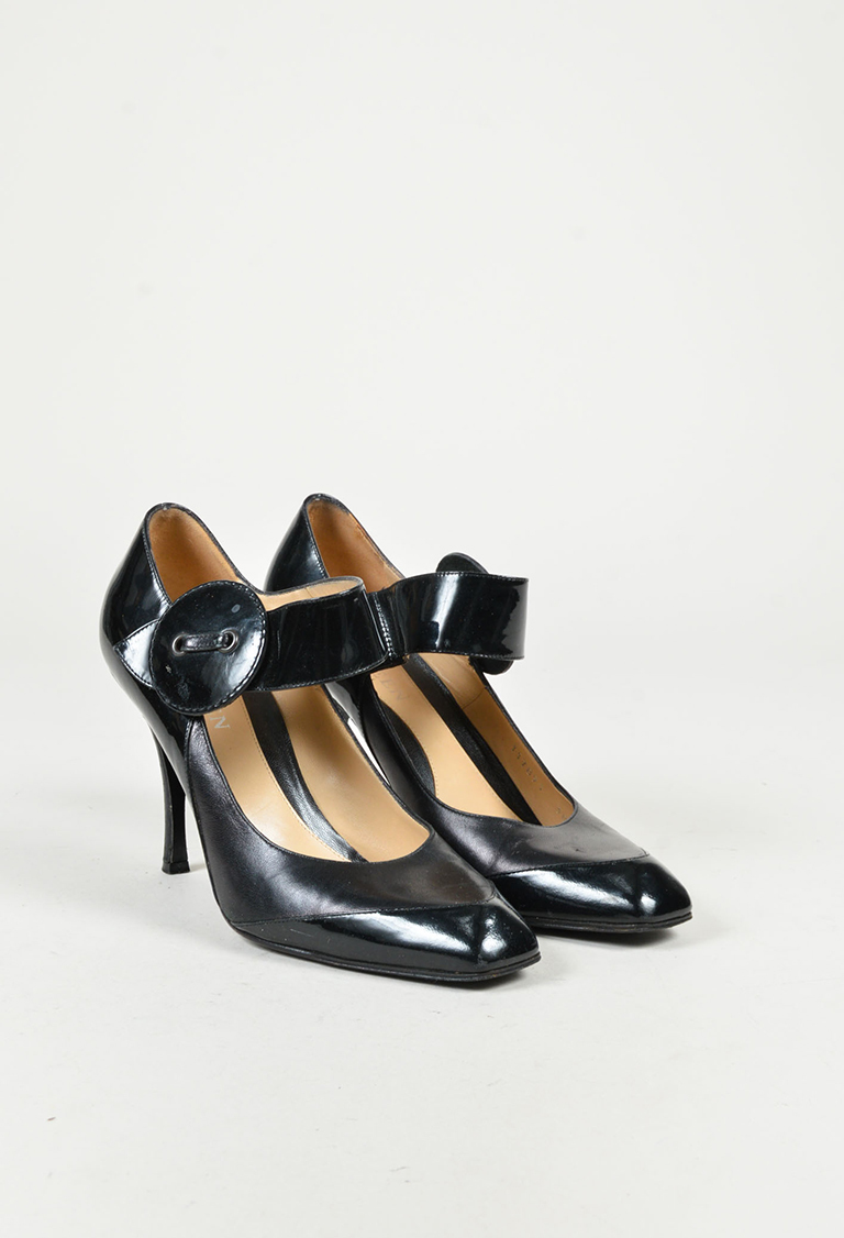 Black Patent & Leather Mary Jane Pumps