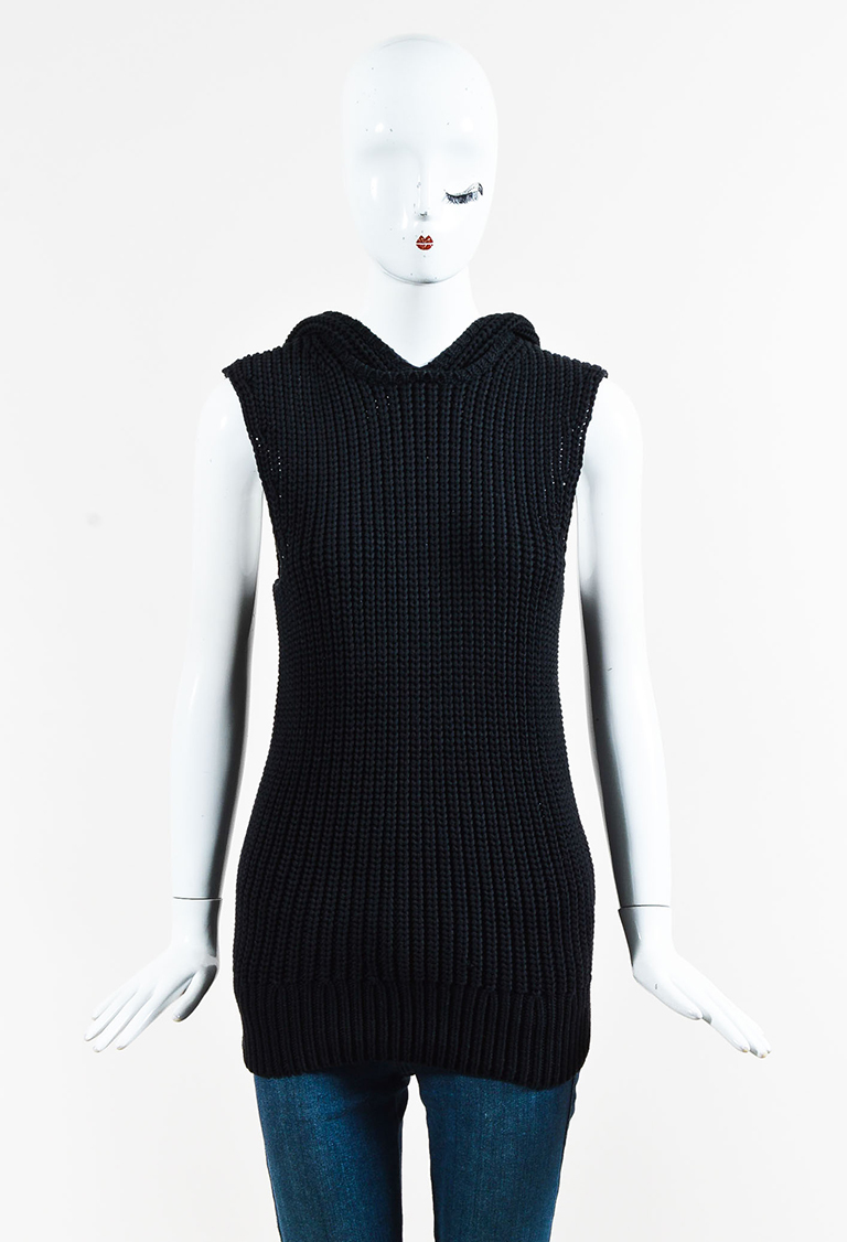 Black Cotton Purl Knit Sleeveless Hooded Sweater
