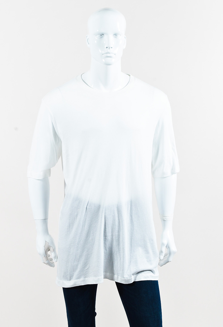 Men's White Cotton Short Sleeve Oversize T Shirt