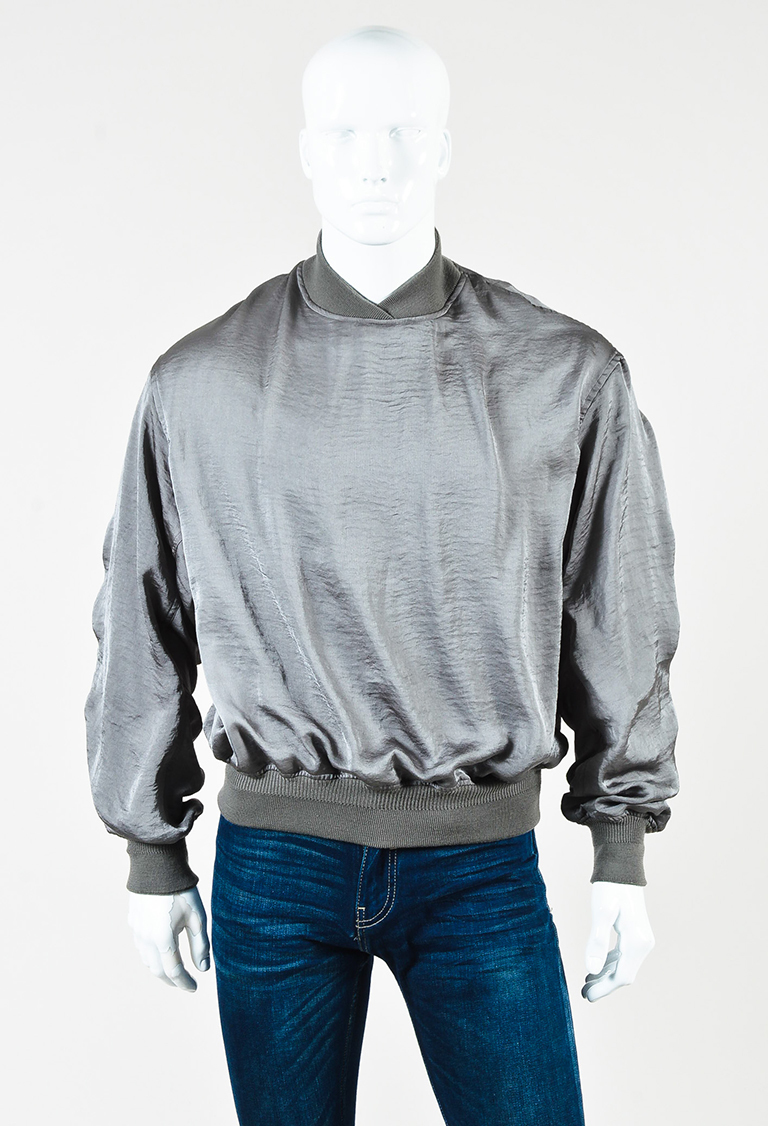 "Men's Gray Satin & Knit ""Myristicin"" Sweater"