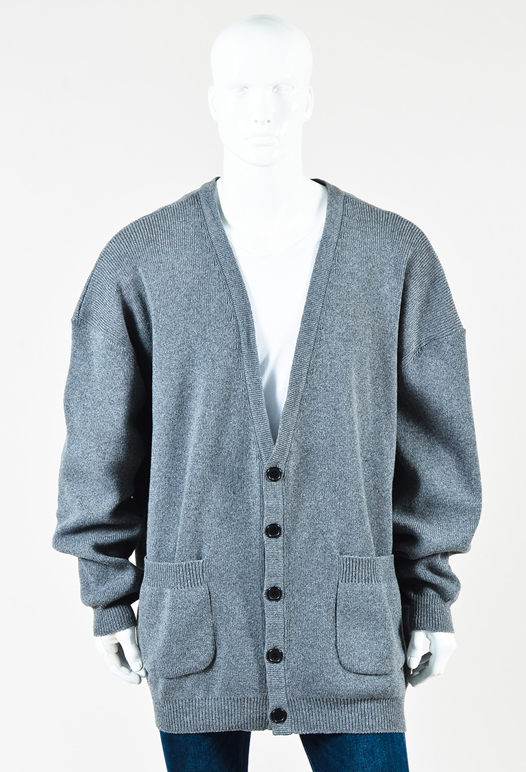 Men's Gray Wool Blend Knit Buttoned Oversized Cardigan