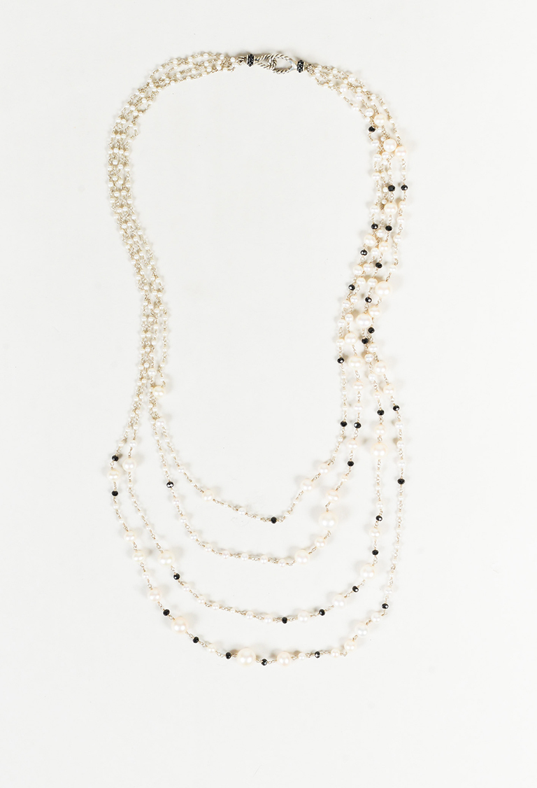 """Sterling Silver """"Oceanica Pearl and Bead Link"""" Necklace"""